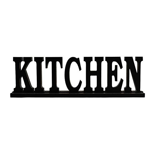 Black Wood Kitchen Sign Kitchen Table Sign Decorative Standing Cutout Word Decor Wooden Sitter Tabletop Words Decor Home Kitchen Decor