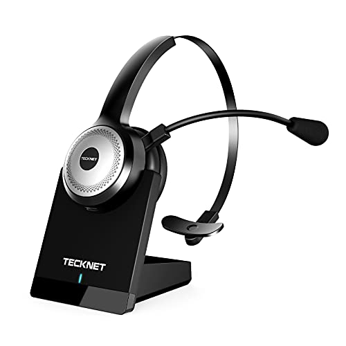 TECKNET Bluetooth 5.0 Wireless Headset with AI Noise Cancelling Microphone and Charging Base for Laptop, On Ear Bluetooth Headphone Telephone Headset for PC, Cell Phone, Skype, All Day Battery Life