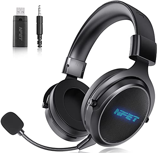NPET HS30 Wireless Gaming Headset, Detachable Noise Cancellation Microphone, Up to 30 hours Lasting Battery 2.4G LED Backlit Computer Headphone for PC/PS4/PS5/Switch/Mac/Phone, Wired Mode for Xbox One