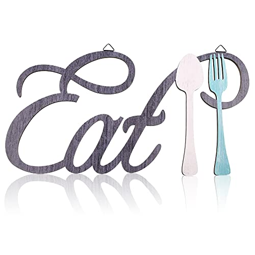 Rustic Wood Eat Spoon and Fork Sign Wall Decor Wooden Eat Letters Wall Sign with Fork and Spoon Shape Farmhouse Wood Cutout Eat Sign Kitchen Wall Plaque Home Decor, 15.7 x 8.3 Inch (Retro Color)