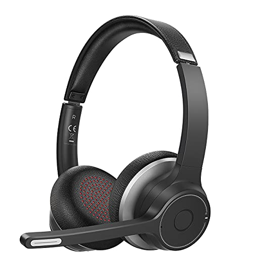 Soulsens Wireless Headset with Microphone, Computer Headphones with Noise Canceling Mic for Home Office, Comfort-fit Business Headset for PC, Cell Phone, Office, Skype, 22H Talk Time