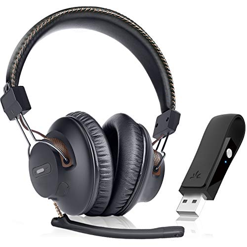 Avantree DG59(M) Wireless Headphones with Microphone & USB Adapter Set for PC Computer Laptop PS5 PS4, High Sound Quality in-Game Voice Chat, 40hrs Bluetooth Headsets with Mic for Skype Zoom Meetings