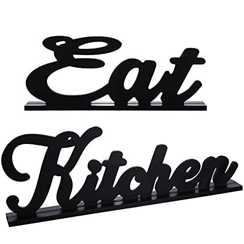 2 Pieces Eat Sign for Kitchen Wood Word Decorative Table Sign Rustic Farmhouse Wooden Table Sign Decoration Country Decorative Wooden Letters for Kitchen Home Living Room Decor
