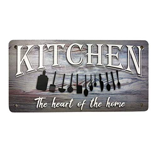 Retro Wood Plaque Sign Kitchen-The Heart of The Home Vintage Style Hanging Wall Art Sign Decor for Home Kitchen Bar Workshop Coffee 10'' x 5''