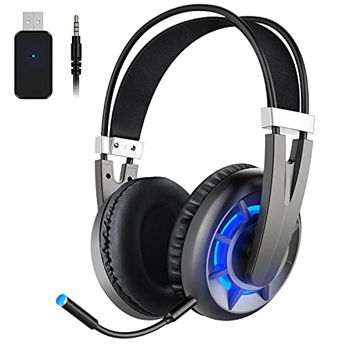Wintory AIR 2.4G Wireless Gaming Headset for PC PS4 TV Playstation Computer Headset with Detachable Noise Canceling Microphone Mute Key 3D Surround Sound Over Ear Gaming Mic Headphones Upto 15H of Use