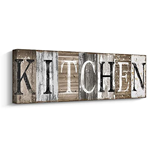 Rustic Farmhouse Kitchen Wall Decor Canvas Prints Kitchen Signs Wall Decor (With Solid Wood Inner Frame)