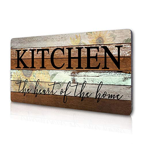 Smarten Arts Farmhouse Kitchen Signs Wall Decor Funny Kitchen Wall Art-Kitchen is The Heart of The Home-Sunflower Themed Printed Large Wood Signs Kitchen Wall Decor Home Decorations 16' x 8'