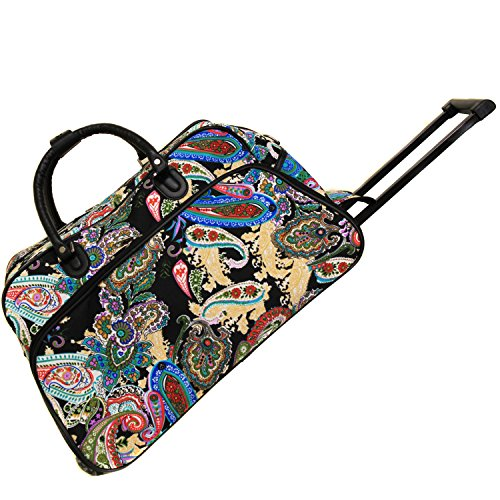 World Traveler 21-Inch Carry-On Rolling Duffel Bag, Multi Paisley