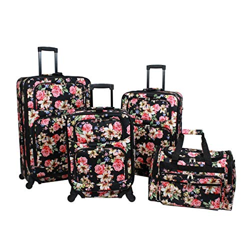 World Traveler 818703-T19-203 4 Piece Rolling Expandable Spinner Luggage Set - Rose Lily