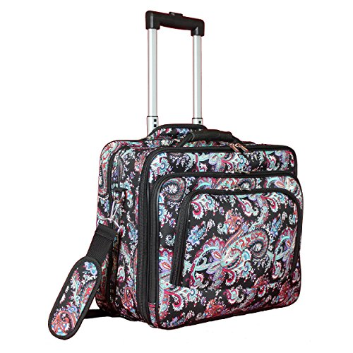 World Traveler Women's Fashion Print Rolling 17' Laptop Case-Paisley, One Size