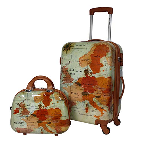 World Traveler Europe 2-Piece Carry-On Spinner Luggage Set with TSA Lock, Brown, One_Size