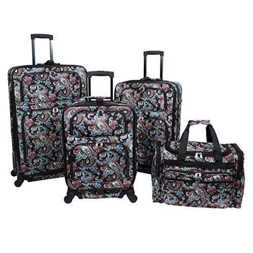 World Traveler 4-piece Rolling Expandable Spinner Luggage Set-Paisley, One Size
