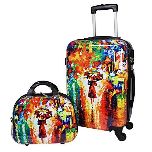 World Traveler 2-Piece Carry-on Hardside Spinner Luggage Set-Paris Nights, One Size