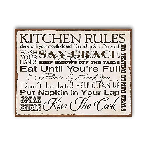 Kitchen Rules Wall Sign for Home Decor,Kitchen Wall Art,Cute Kitchen Sign,Wood Signs,Kitchen Decor