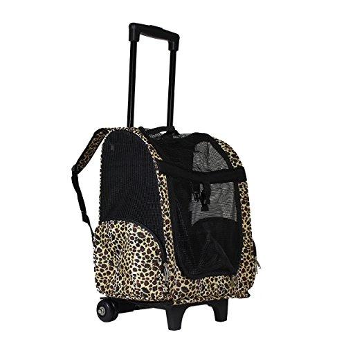 World Traveler Women's 18' Rolling Pet Carrier Backpack Convertible-Leopard, One Size