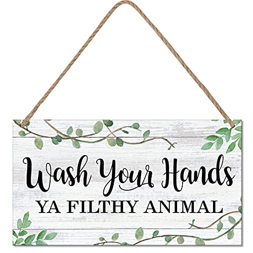 LHIUEM Wash Your Hands Ya Filthy Animal Sign,Funny Bathroom Wooden Hanging Wall Art, Green Plant Wood Plaques For Kitchen Toilet Home Decor(6''x 11'',Ready to Hang)