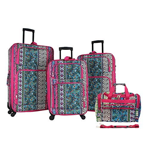 World Traveler 4-piece Rolling Expandable Spinner Luggage Set-Bohemian, One Size