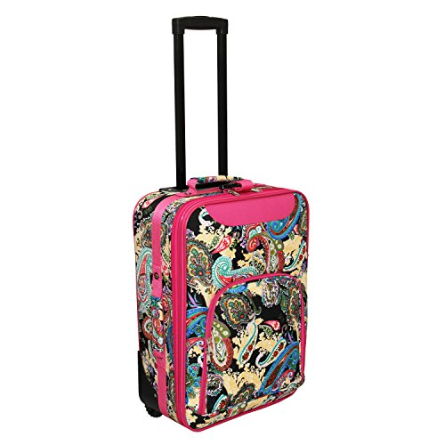 World Traveler 20 Inch Rolling Carry-On Luggage Suitcase, Pink Trim Multi Paisley, One Size