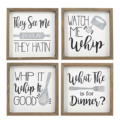 """TERESA'S COLLECTIONS Kitchen Wall Wood Sign, Kitchen Box Sign with Kitchenware Sayings, Set of 4 Farmhouse Decorative Signs for Kitchen and Home, Country Wall Art, Brown and White, 8""""x8"""""""