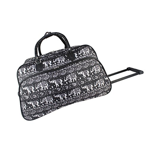 World Traveler 21-inch Carry-on Rolling Duffel Bag-Black White Elephant, One Size