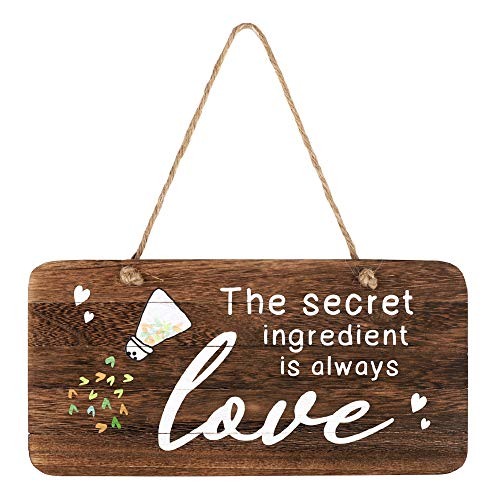 whoaon The Secret Ingredient is Always Love Sign. Real Pallet Wood Sign for Rustic Kitchen Decor, Farmhouse Kitchen Wall Decor, Rustic Wall Decor with Kitchen Sign. 6'x12'