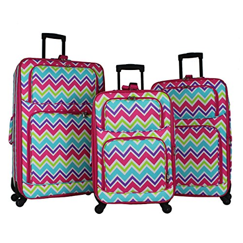 World Traveler 3-piece Rolling Expandable Spinner-Pink Trim Chevron Multi, One Size